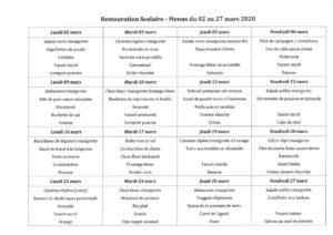 thumbnail of menus du 02 au 27 mars 2020