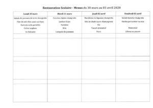thumbnail of menus du 30 mars au 03 avril 2020